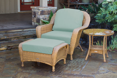 SEA PINES CLUB CHAIR, OTTOMAN AND SIDE TABLE BUNDLES-MOJAVE WICKER