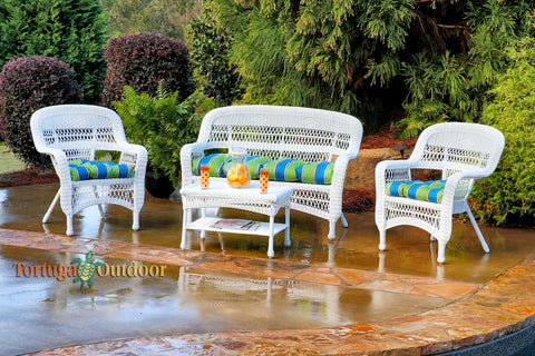 PORTSIDE 4 PIECE SEATING SETS – COASTAL WHITE