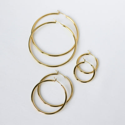 J.Bubs Earrings 2.5cm BRANDY Gold Filled Everyday Hoops