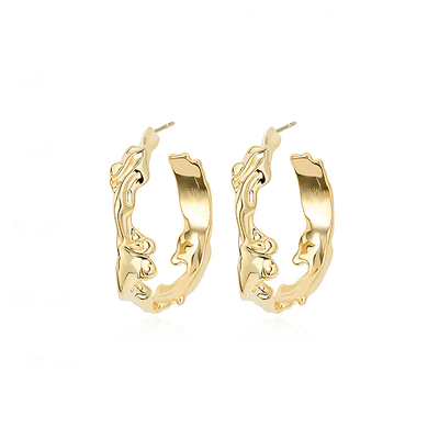J.Bubs Earrings BARRY Gold Molten Hoops