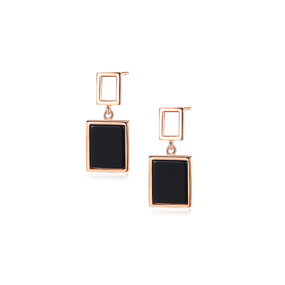J.Bubs Earrings CAROLYN Rose Gold Square Drop Earrings