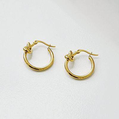 J.Bubs Earrings CORA 18k Gold Plated 925 Knotted Hoops
