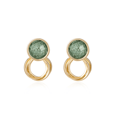 J.Bubs Earrings JULIENNE Emerald & Gold Circle Earrings