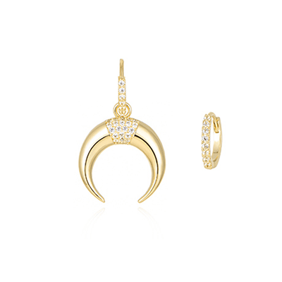J.Bubs Earrings KENDRA 14k Gold Plated Mismatched Horn Earrings