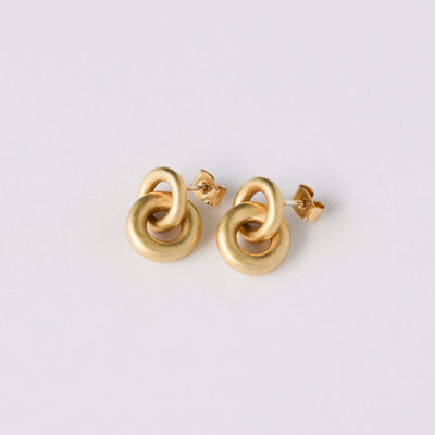 J.Bubs Earrings LANDIE 14k Gold Plated Matte Circle Earrings