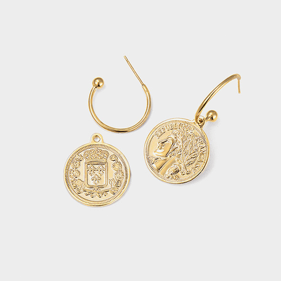 J.Bubs Earrings LONDON Gold Coin Earrings