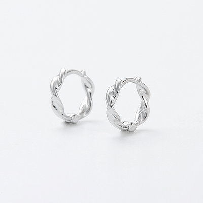 J.Bubs Earrings RILEY Sterling Silver 925 Molten Hoop Earrings