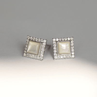 J.Bubs Earrings Silver IVEY Classic Square Earrings