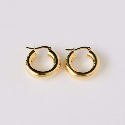 J.Bubs Earrings TEGAN 14k Gold Plated 925 Chunky Gold Hoops