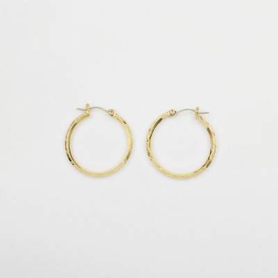 J.Bubs Earrings WILLOW 14k Gold Plated 925 Checked Hoops