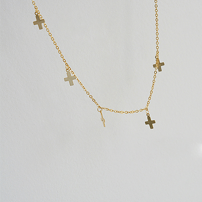 J.Bubs Necklaces CHRISTINE 18k Gold Plated 925 Crosses Necklace