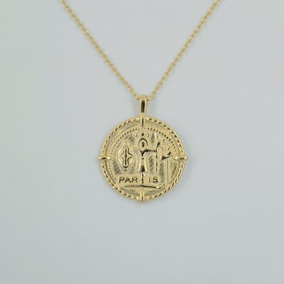 J.Bubs Necklaces PARIS 18k Gold Plated 925 Coin Necklace