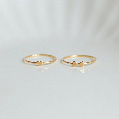 J.Bubs Rings Heart / US Ring Size 5 HONESTY 14k Gold Filled Heart Stacking Rings