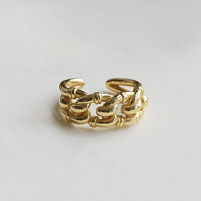J.Bubs Rings MANDY 18k Gold Plated Knit Open Ring