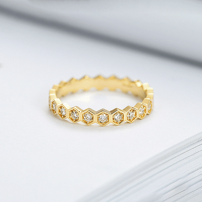 J.Bubs Rings ROSALIE 18k Gold Plated 925 Hexagonal Stacking Ring