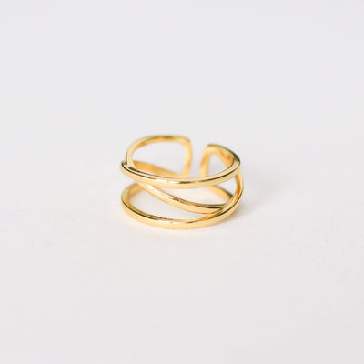 J.Bubs Rings ZEPHYR 14k Gold Plated 925 Statement Spiral Ring