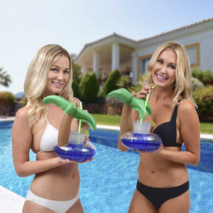 GoFloats Inflatable Palm Island Drink Holder (3 Pack)