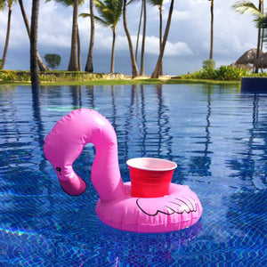 GoFloats Inflatable Flamingo Drink Holder (3 Pack)