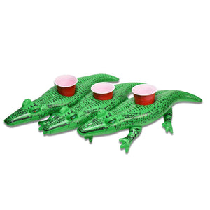 GoFloats Inflatable Alligator Drink Holder (3 Pack)