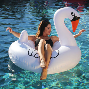 GoFloats Swan Pool Float Party Tube® - Inflatable Raft for Adults & Kids