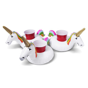 GoFloats Inflatable Unicorn Drink Holder (3 Pack)