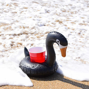 GoFloats Black Swan Drink Holders (3 Pack), Float Your Drinks in Style