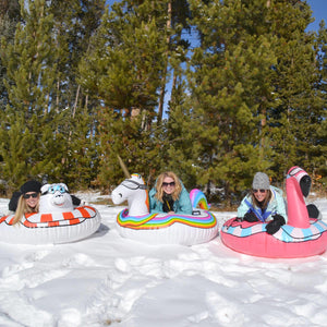 GoFloats Flamingo Winter Snow Tube - The Ultimate Sled & Toboggan
