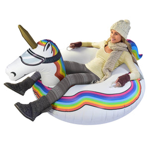 Inflatable Unicorn Snow Tube - Winter Sled for Adults and Kids