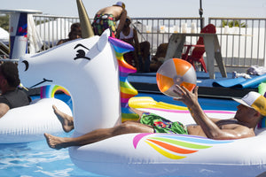 GoFloats Giant Inflatable Unicorn Pool Float - Includes Bonus Drink Float