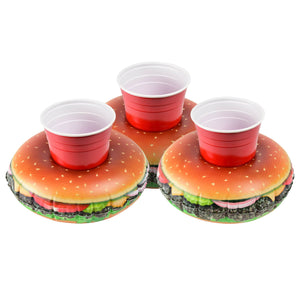 GoFloats Inflatable Cheeseburger Drink Holder (3 Pack)