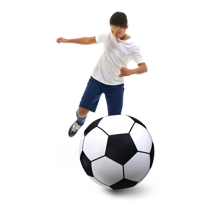 GoFloats Giant Inflatable Soccer Ball - Made From Premium Raft Grade Vinyl, Black & White 2.5'
