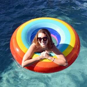 GoFloats Rainbow Pool Float Party Tube® - Inflatable Raft for Adults & Kids