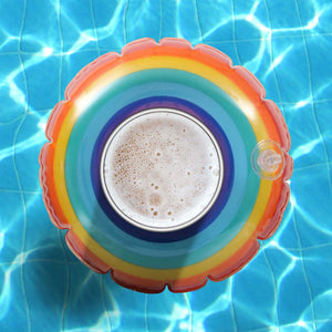 GoFloats Inflatable Rainbow Drink Holder (3 Pack)