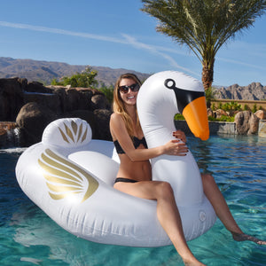 GoFloats Giant Inflatable Swan Pool Float