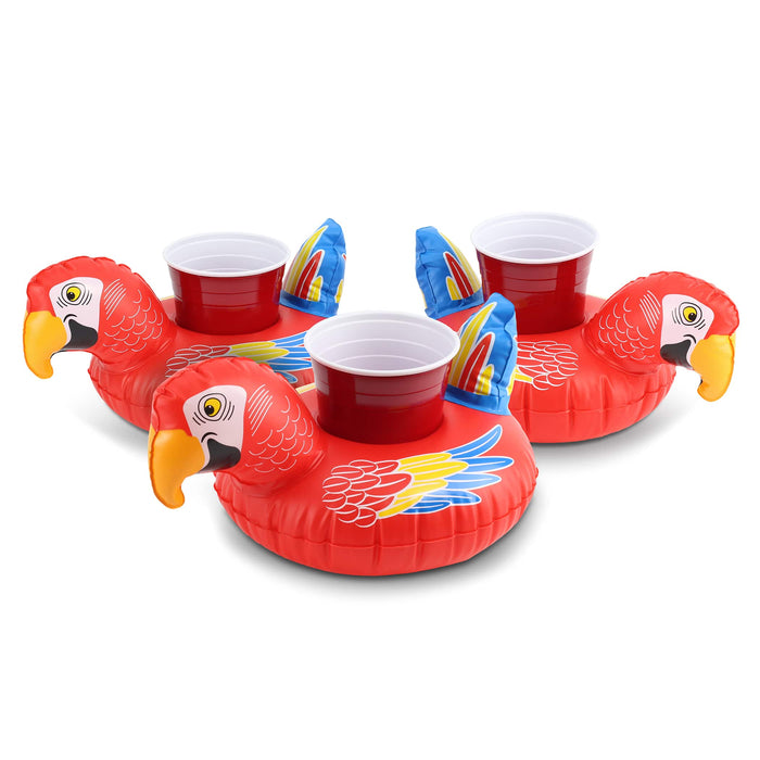 GoFloats Inflatable Party Parrot Drink Float (3 Pack)