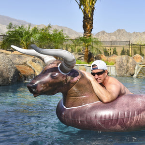 GoFloats Giant Inflatable Buckin' Bull Pool Float - Includes Bonus Drink Float
