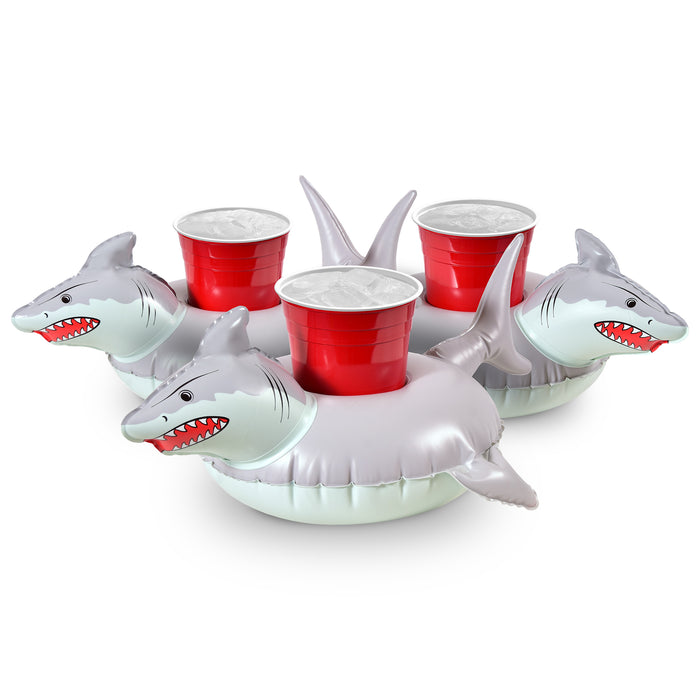 GoFloats Inflatable Shark Drink Holder (3 Pack)