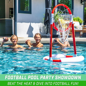 GoSports Splash Pass Floating Pool Football Game | Includes Hoop, 4 Footballs and Pump