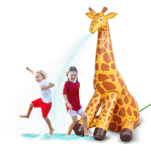 GoFloats Giant Inflatable Giraffe Party Sprinkler | 7 Feet Tall Yard Sprinkler for Kids Summer Fun