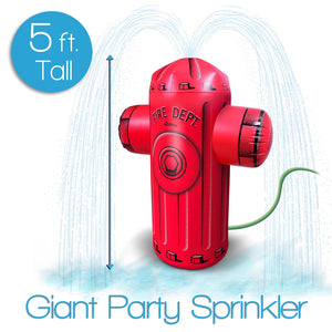 GoFloats Giant Inflatable Fire Hydrant Party Sprinkler | 5 Feet Tall Yard Sprinkler for Kids Summer Fun