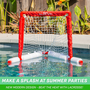 GoSports Lacrosse Floating Pool Goal Set | Includes Lacrosse Water Goal, 2 Lacrosse Sticks and 4 Soft Rubber Balls