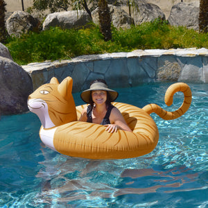 GoFloats Meowzers the Cat Party Tube Inflatable Raft for Adults and Kids