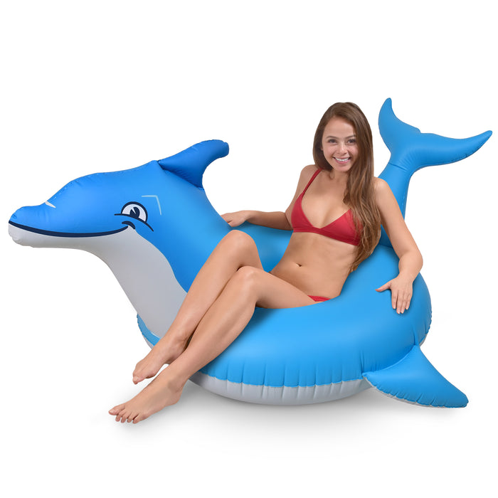 GoFloats Dolphin Party Tube Inflatable Raft for Adults and Kids