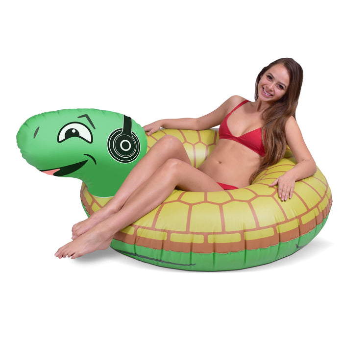GoFloats Rockin' Turtle Party Tube® Inflatable Raft | Fun Pool Float for Adults and Kids