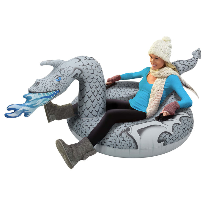 GoFloats Ice Dragon Winter Snow Tube - Inflatable Sled
