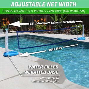 GoSports Splash Net PRO Pool Volleyball Net | Includes 2 Water Volleyballs and Pump