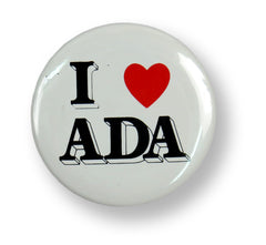 "A button reading ""I heart ADA.""] A disability awareness button celebrating the Americans With Disabilities Act."