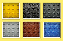 Standard colors available for self-adhesive truncated domes ADA mats distributed nationally by Truncated Domes Depot