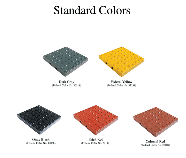 TDD-ATS-25 Truncated Domes Tiles for Concrete Surfaces - 2' x 5' - color chart