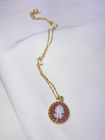 "Vermeil and Rose 18"" Cameo Necklace"